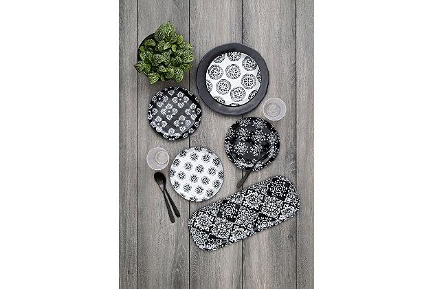 TarHong Planta Black Medallion Assorted Salad Plate (Set of 4), , large
