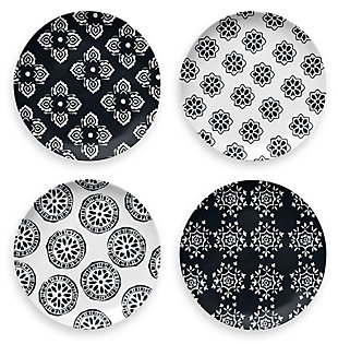 TarHong Planta Black Medallion Assorted Salad Plate (Set of 4), , large