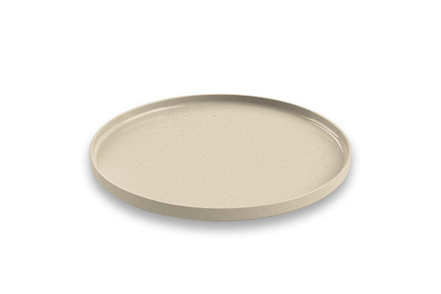 TarHong Melamine Palermo Dinner Plate (Set of 6), Brown/Beige, large