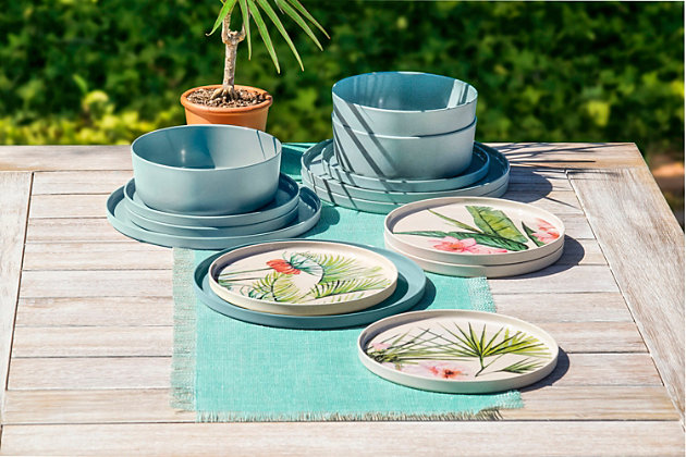 TarHong Melamine Palermo Dinner Plate (Set of 6), Blue/Green, large