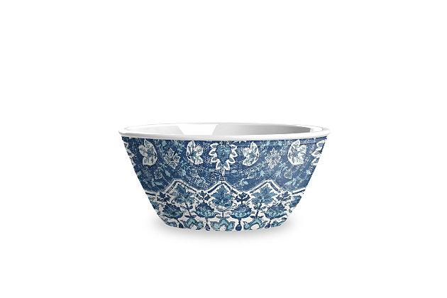 TarHong Melamine Atlantic Blue Medallion Cereal Bowl (Set of 6), , large