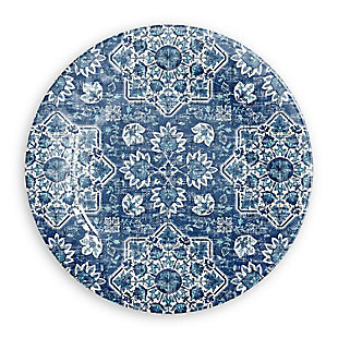 TarHong Melamine Atlantic Blue Medallion Dinner Plate (Set of 6), , large