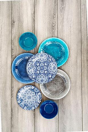TarHong Melamine Atlantic Blue Medallion Dinner Plate (Set of 6), , large