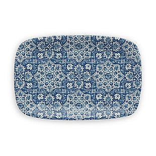 TarHong Melamine Atlantic Blue Medallion Rectangular Platter, , large