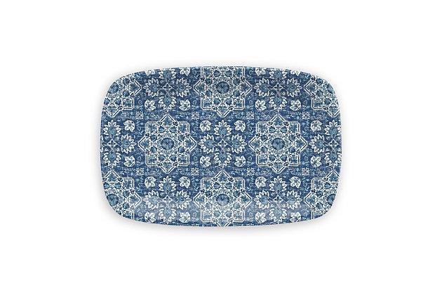TarHong Melamine Atlantic Blue Medallion Rectangular Platter, , large