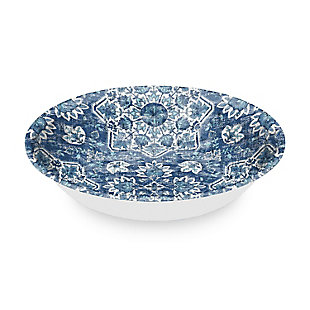 TarHong Melamine Atlantic Blue Medallion Serving Bowl, , large
