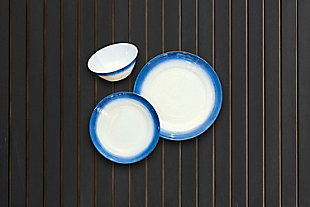 TarHong Melamine Ombre Rim Speckle Bowl (Set of 6), Blue/Brown/Beige, rollover