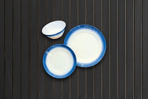 TarHong Melamine Ombre Rim Speckle Bowl (Set of 6), Blue/Brown/Beige, large