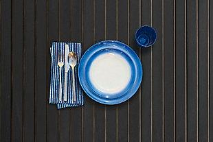 TarHong Melamine Ombre Rim Speckle Dinner Plate (Set of 6), Blue/Brown/Beige, rollover