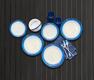 TarHong Melamine Ombre Rim Speckle Dinner Plate (Set of 6), Blue/Brown/Beige, large