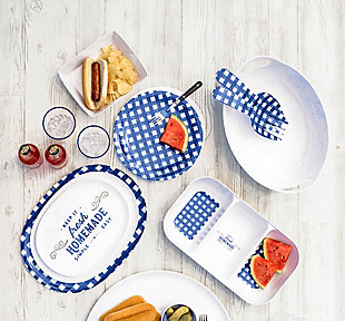 TarHong Melamine Homemade Navy Gingham Dinner Plate (Set of 4), , rollover
