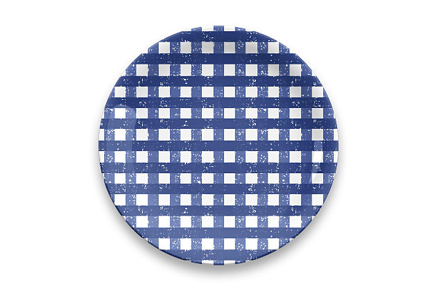 TarHong Melamine Homemade Navy Gingham Dinner Plate (Set of 4), , large
