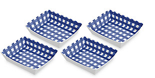TarHong Melamine Homemade Navy Gingham Burger Trays (Set of 4), , large