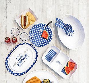 TarHong Melamine Homemade Navy Speckle Dinner Plate (Set of 4), , large