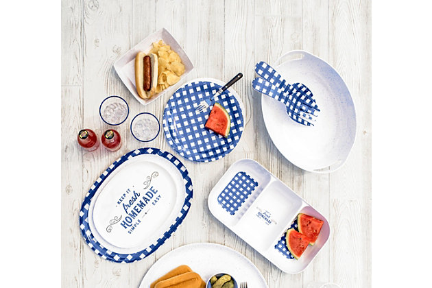 TarHong Melamine Homemade Navy Speckle Burger Trays (Set of 4), , large
