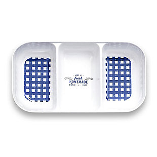 TarHong Melamine Homemade Navy Gingham Serving Tray, , large