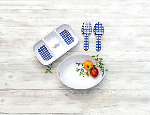TarHong Melamine Homemade Navy Gingham Serving Utensils, , rollover