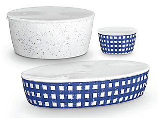 TarHong Melamine Homemade Navy Lidded Bowls (Set of 3), , large