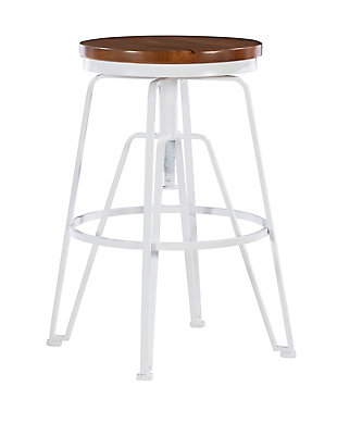 Linon Ames White Metal and Wood Stool, White, large