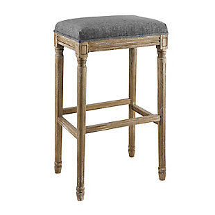 Linon Brenley Backless Counter Stool Charcoal Grey, 24 inch, Gray, large