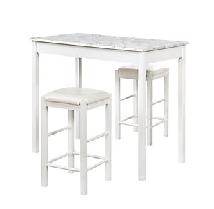 Linon Iris 3 Piece Tavern Set, White Faux Marble, White, large