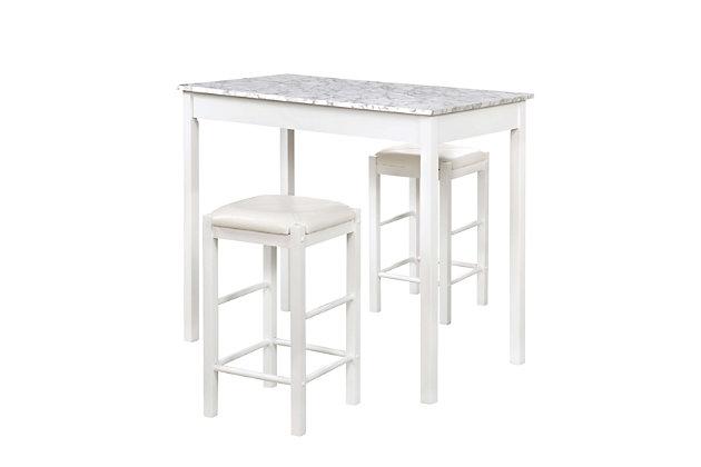 Linon Iris 3 Piece Tavern Set, White Faux Marble, White, large