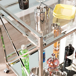Dresden Dresden Silver Bar Cart, Chrome, large