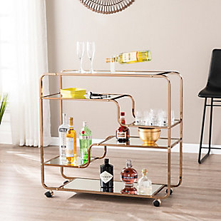 Layalla Layalla Art Deco Mirrored Bar Cart, , rollover