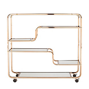 Layalla Layalla Art Deco Mirrored Bar Cart, , large
