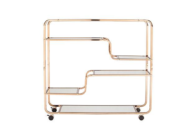 Layalla Layalla Art Deco Mirrored Bar Cart, , large