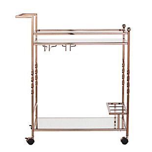 Pamona Pamona Metal Mirrored Bar Cart - Champagne, Gold, large