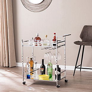Pamona Pamona Metal Mirrored Bar Cart - Chrome, Chrome, rollover