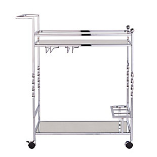 Pamona Pamona Metal Mirrored Bar Cart - Chrome, Chrome, large