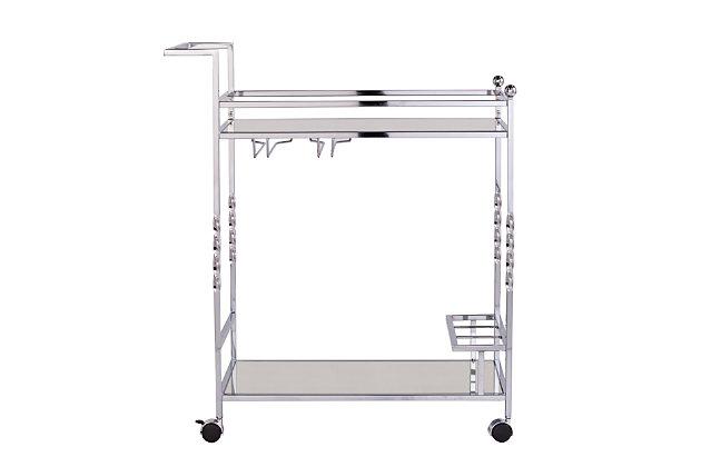 Pamona Pamona Metal Mirrored Bar Cart - Chrome, Chrome, large