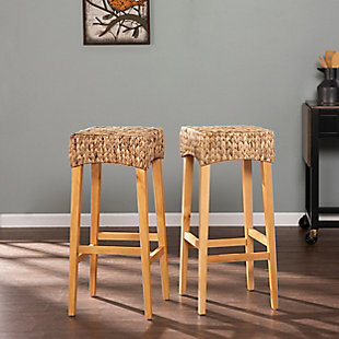 Travol Travol Pair of Natural Bar Height Stools, Brown, rollover