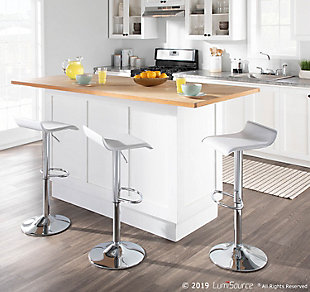 Ale Adjustable Height Bar Stool (Set of 2), White, rollover