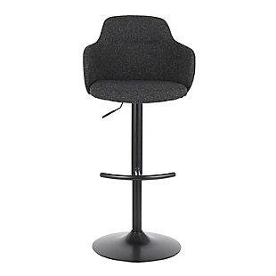 Upholstered Boyne Adjustable Height Bar Stool, Black/Dark Gray, large