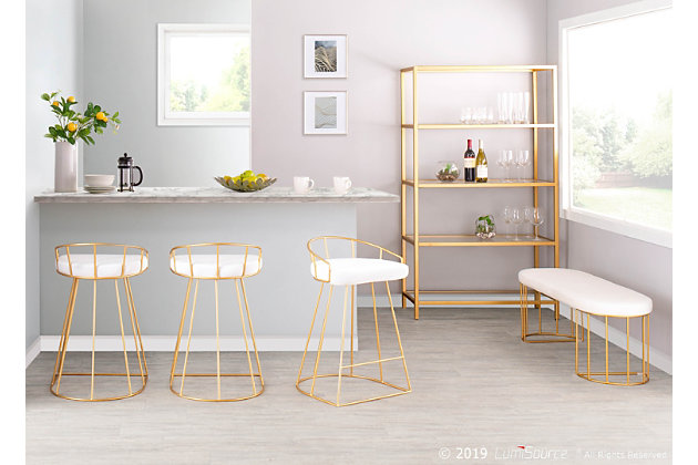 Canary Counter Stool (Set of 2), Gold/White, large