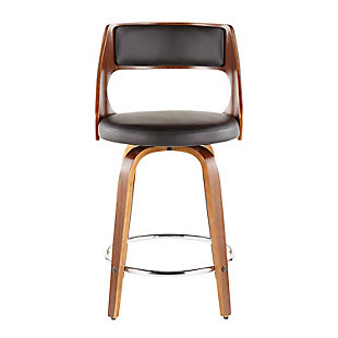 Cecina Counter Stool (Set of 2), Walnut/Brown/Chrome, large