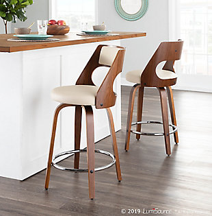 Cecina Counter Stool (Set of 2), Walnut/Cream/Chrome, rollover