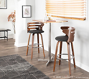 Cosini Bar Stool (Set of 2), Walnut/Charcoal/Chrome, rollover
