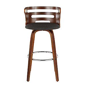 Cosini Bar Stool (Set of 2), Walnut/Charcoal/Chrome, large