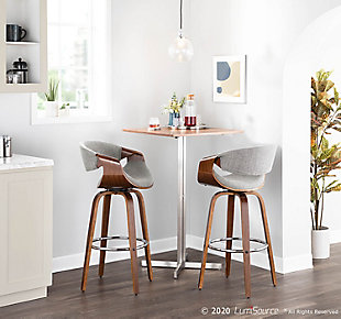 Curvini Bar Stool (Set of 2), Walnut/Light Gray/Chrome, rollover