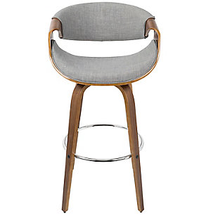 Curvini Bar Stool (Set of 2), Walnut/Light Gray/Chrome, large