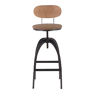 Dakota Mid-Back Adjustable Height Bar Stool, Black/Medium Brown, large