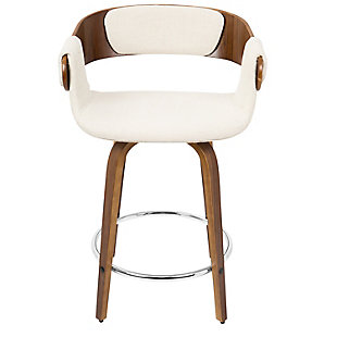 Elisa Counter Stool (Set of 2), Walnut/Cream/Chrome, large