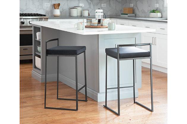 Fuji Stacker Counter Stool (Set of 2), Black, large