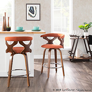 Gardenia Counter Stool (Set of 2), Walnut/Orange/Chrome, rollover
