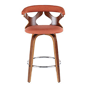 Gardenia Counter Stool (Set of 2), Walnut/Orange/Chrome, large