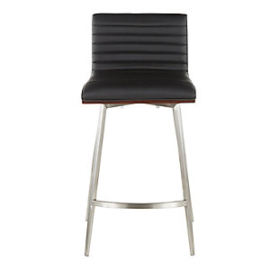 Mason Swivel Counter Stool (Set of 2), Stainless/Walnut/Black, large